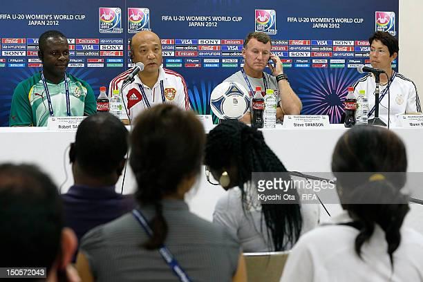 Head coach Robert Sackey of Ghana head coach Yin Tiesheng of China head coach Steve Swanson of USA and head coach Maren Meinert of Germany attend a...