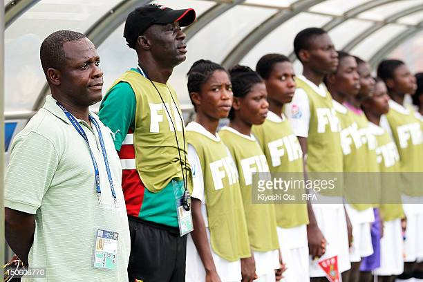 Head coach Robert Sackey of Ghana looks on with his players prior to the FIFA U20 Women's World Cup Japan 2012 Group D match between Ghana and...