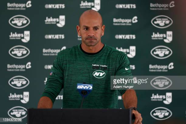 Head coach Robert Saleh of the New York Jets speaks with reporters at Atlantic Health Jets Training Center on July 30, 2021 in Florham Park, New...
