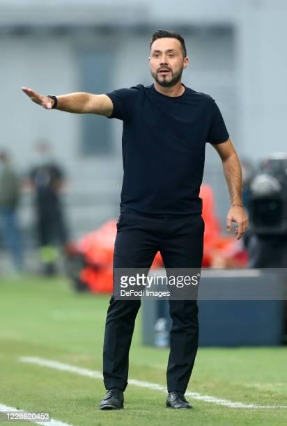head coach Roberto De Zerbi of US Sassuolo gestures during the Serie A match between US Sassuolo and Cagliari Calcio at Mapei Stadium Citta del...