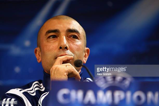 Head coach Roberto di Matteo attends a FC Schalke 04 press conference ahead of their UEFA Champions League Group G match against Sporting Club de...