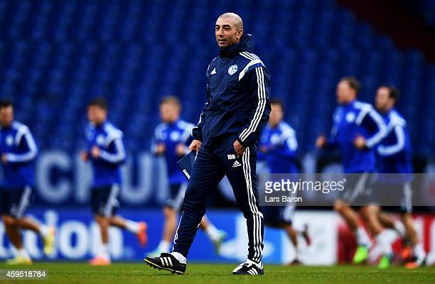 Head coach Roberto di Matteo is seen during a FC Schalke 04 training session prior to their UEFA Champions League match against Chelsea FC at Veltins...