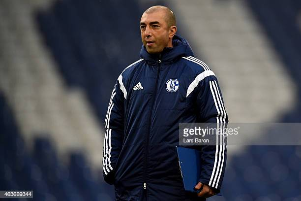 Head coach Roberto di Matteo is seen during a FC Schalke 04 training session prior to their UEFA Champions League match against Real Madrid at...