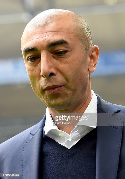 Head coach Roberto di MAtteo of Schalke is seen prior to the Bundesliga match between FC Schalke 04 and SC Paderborn at Veltins Arena on May 16 2015...