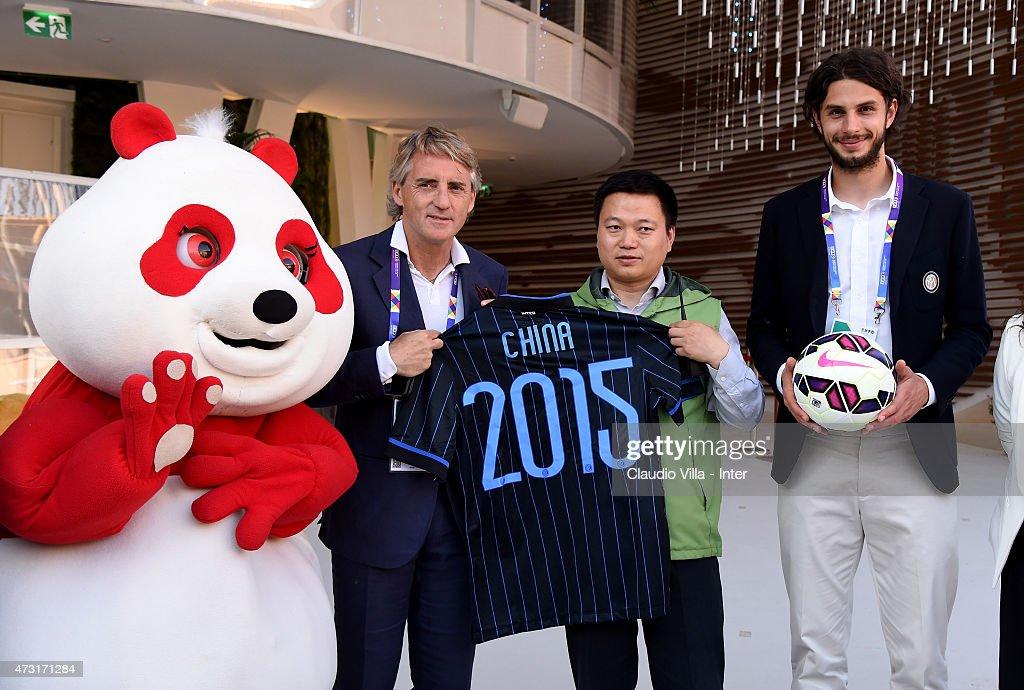 Roberto Mancini And Andrea Ranocchia Visit Expo 2015 In Milan : News Photo