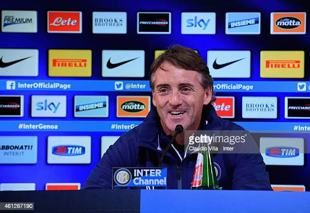 Head coach Roberto Mancini during the FC Internazionale Press Conference at Appiano Gentile on January 10, 2015 in Como, Italy.