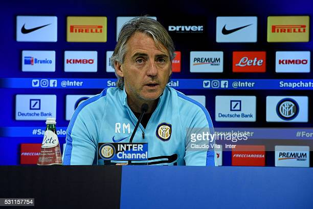 Head coach Roberto Mancini during the FC Internazionale press conference at the club's training ground at Appiano Gentile on May 13 2016 in Como Italy