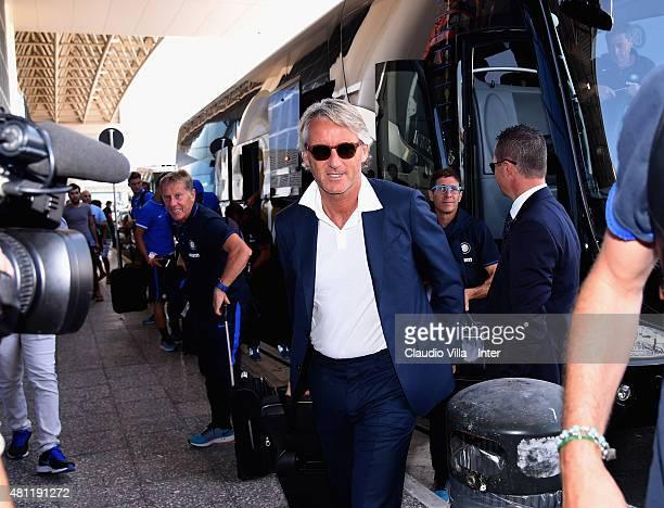 Head coach Roberto Mancini of FC Internazionale departs to China on July 18 2015 in Milan Italy