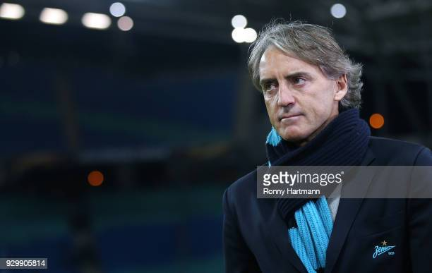 Head coach Roberto Mancini of FC Zenit Saint Petersburg enters the pitch prior to the UEFA Europa League Round of 16 match between RB Leipzig and...