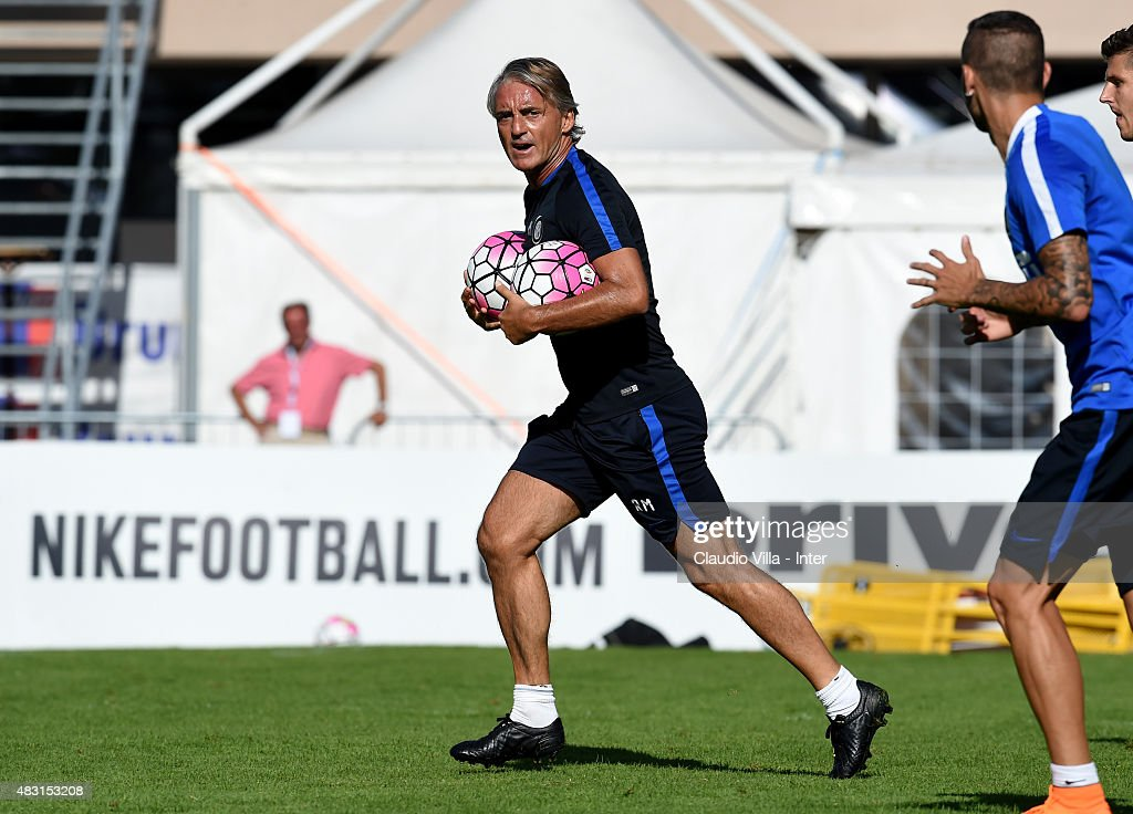 Head coach Roberto Mancini reacts during a FC Internazionale training session on August 6, 2015 in Bruneck, Italy.