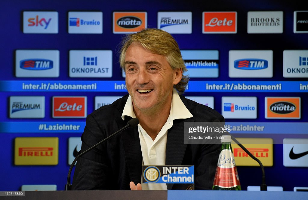 Head coach Roberto Mancini speaks to the media during an FC Internazionale Press Conference at Appiano Gentile on May 09, 2015 in Como, Italy.