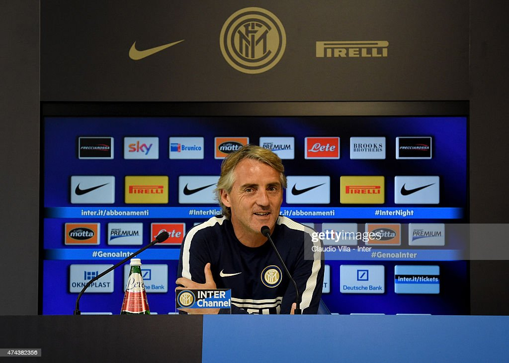 Head coach Roberto Mancini speaks to the media during an FC Internazionale Press Conference at Appiano Gentile on May 22, 2015 in Como, Italy.
