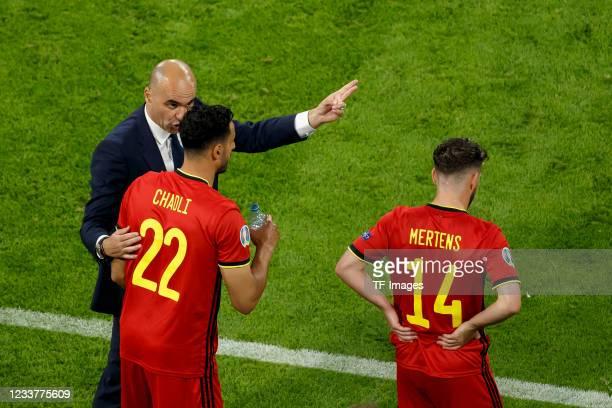 Head coach Roberto Martinez of Belgium, Nacer Chadli of Belgium and Dries Mertens of Belgium on the sideline during the UEFA Euro 2020 Championship...