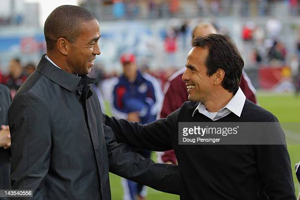 Head coach Robin Fraser of Chivas USA and head coach Oscar Pareja of the Colorado Rapids meet before their match at Dick's Sporting Goods Park on...