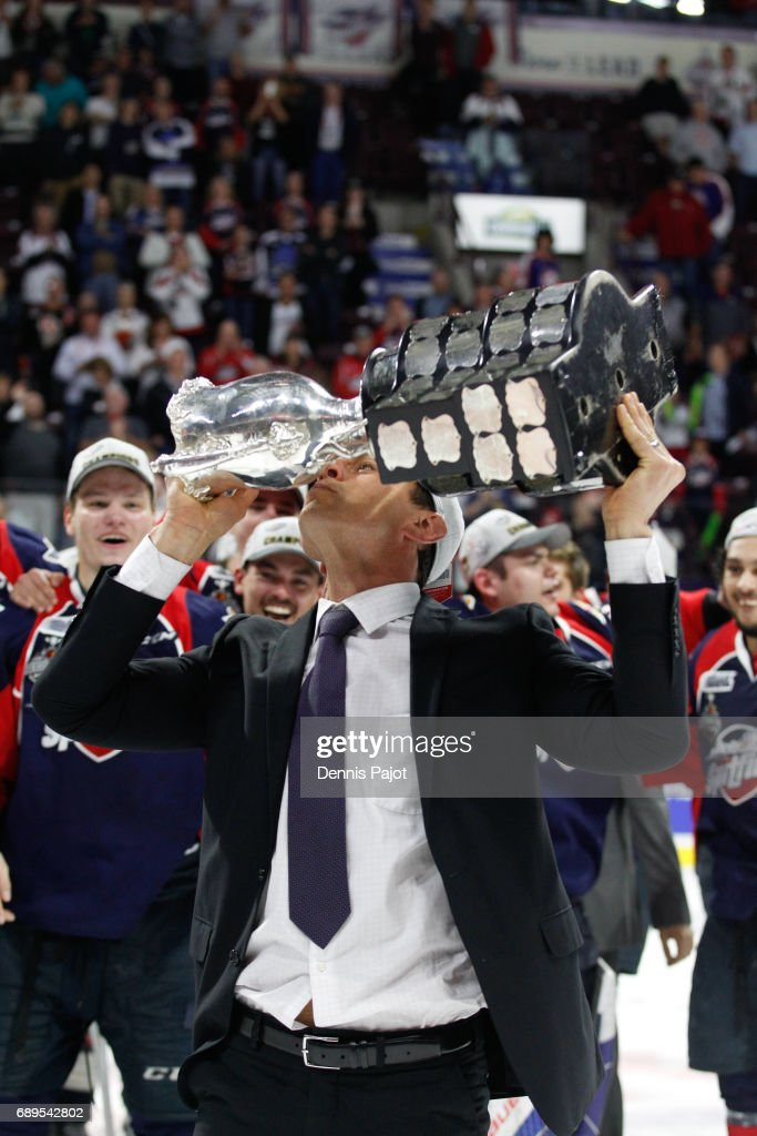 Head Coach Rocky Thompson of the Windsor Spitfires celebrates winning the championship game of the Mastercard Memorial Cup against the Erie Otters 4-3 on May 28, 2017 at the WFCU Centre in Windsor, Ontario, Canada.