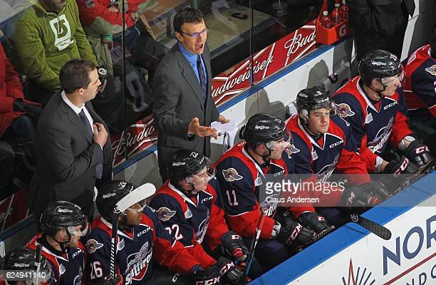 Head coach Rocky Thompson of the Windsor Spitfires voices his displeasure with a call during play against the London Knights in an OHL game at...