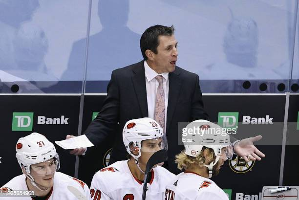 Head coach Rod Brind'Amour of the Carolina Hurricanes reacts in overtime during the game against the Boston Bruins in Game One of the Eastern...