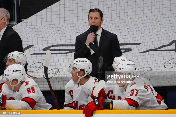 Head coach Rod Brind'Amour of the Carolina Hurricanes reacts to a call favoring the Nashville Predators during the first period in Game Four of the...