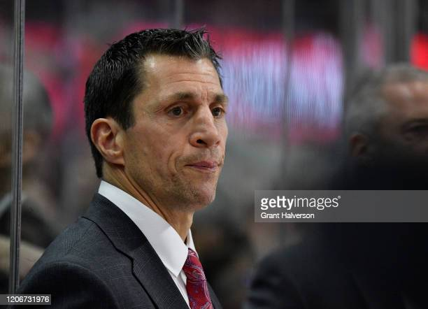 Head coach Rod Brind'Amour watches his team play against the Edmonton Oilers during the second period at PNC Arena on February 16, 2020 in Raleigh,...
