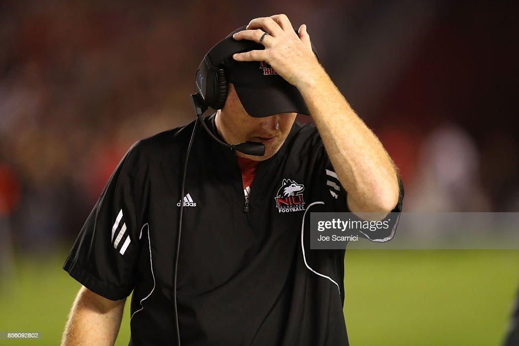 Head coach Rod Carey of the Northern Illinois Huskies reacts to an interception resulting in a touchdown in the second quarter during the Northern Illinois v San Diego State game at Qualcomm Stadium on September 30, 2017 in San Diego, California.