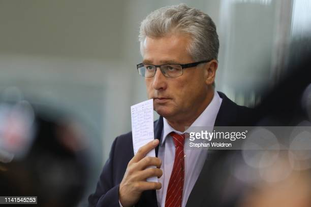 Head Coach Roger Bader of Austria during the Austria v Denmark - Ice Hockey International Friendly at Erste Bank Arena on May 5, 2019 in Vienna,...