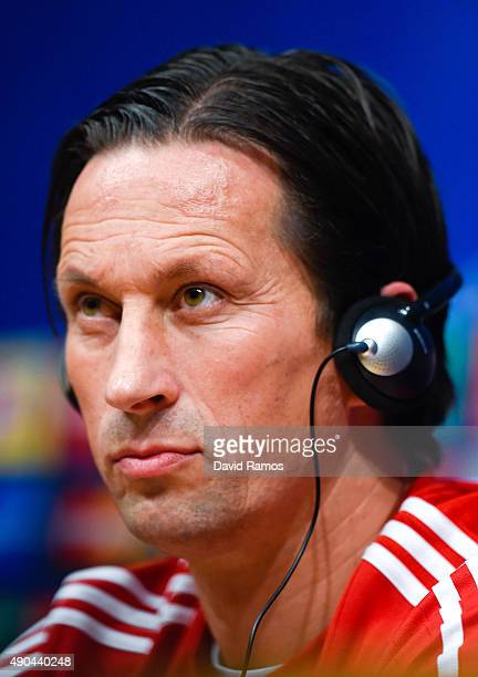Head coach Roger Schmidt of Bayer 04 Leverkusen looks on during a press conference ahead of a UEFA Champions League Group E match against FC...