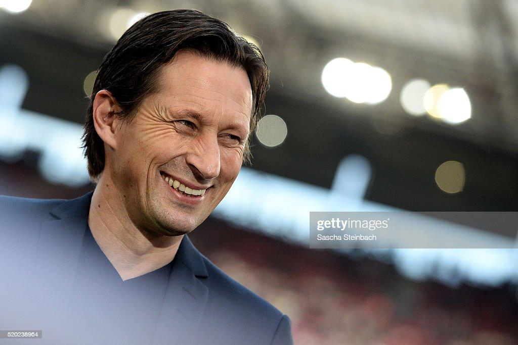 Head coach Roger Schmidt of Leverkusen looks on prior to the Bundesliga match between 1. FC Koeln and Bayer Leverkusen at RheinEnergieStadion on April 10, 2016 in Cologne, Germany.