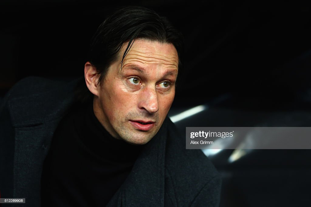 Head coach Roger Schmidt of Leverkusen looks on prior to the UEFA Europa League round of 32 second leg match between Bayer Leverkusen and Sporting Lisbon at BayArena on February 25, 2016 in Leverkusen, Germany.