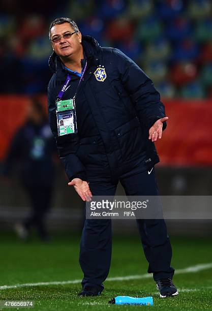 Head coach Rogerio Micale of Brazil reacts during the FIFA U20 World Cup New Zealand 2015 Round of 16 match between Brazil and Uruguay at Stadium...