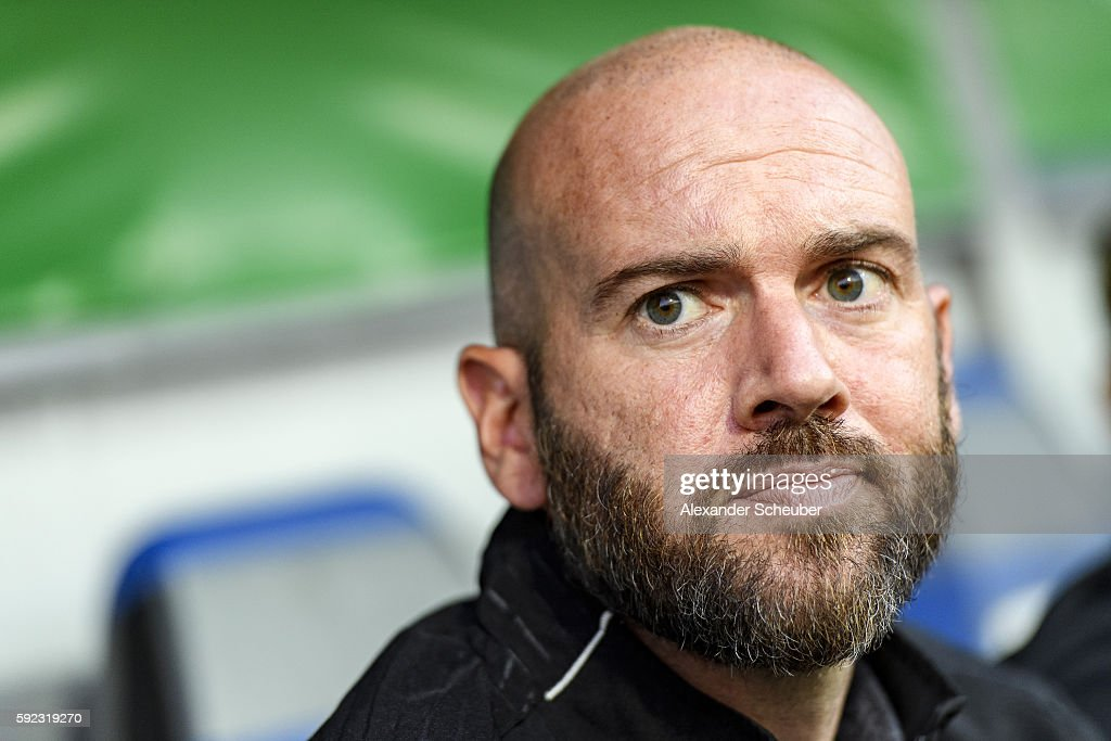 Head coach Roland Vrabec of FSV Frankfurt during the DFB Cup match between FSV Frankfurt and VfL Wolfsburg at Frankfurter Volksbank Stadion on August 20, 2016 in Frankfurt am Main, Germany.