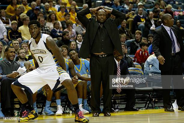 Head Coach Roman Banks of the Southern Jaguars reacts after Jamil Wilson of the Marquette Golden Eagles draws the foul in the first half of play at...
