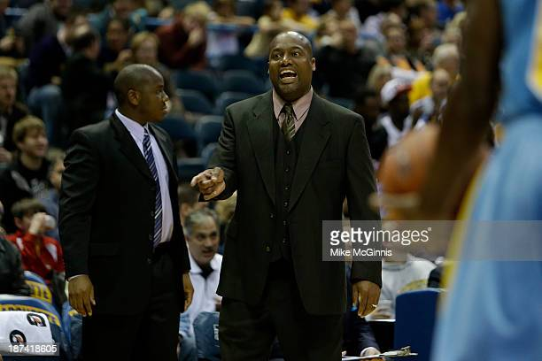 Head Coach Roman Banks of the Southern Jaguars yells from the sidelines during the first half of play against the Marquette Golden Eagles at BMO...
