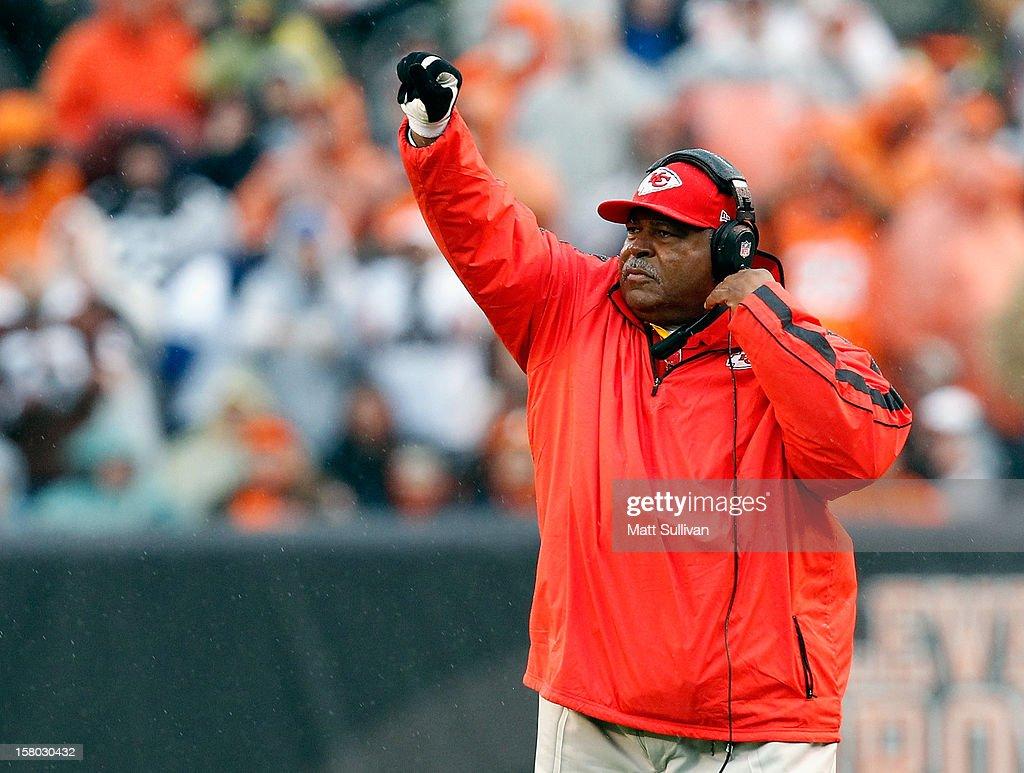 Head coach Romeo Crennal of the Kansas City Chiefs calls a play against the Cleveland Browns at Cleveland Browns Stadium on December 9, 2012 in Cleveland, Ohio.
