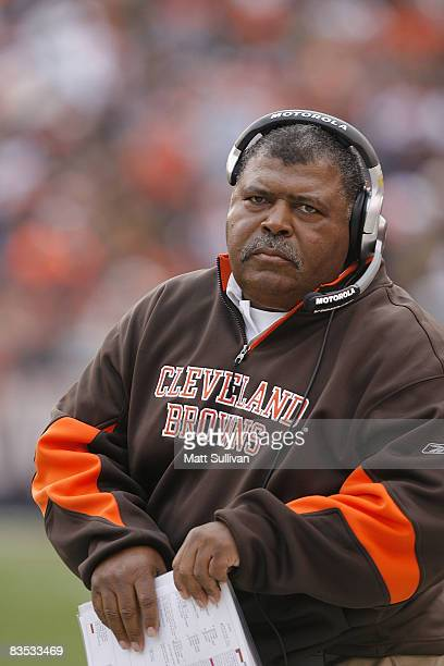 Head coach Romeo Crennel of the Cleveland Browns walks the sidelines during the game against the Baltimore Ravens during the fourth quarter of their...