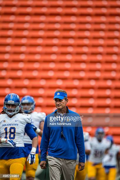 Head coach Ron Caragher of the San Jose State Spartans on the field before the start of a college football game at Aloha Stadium on November 21 2015...