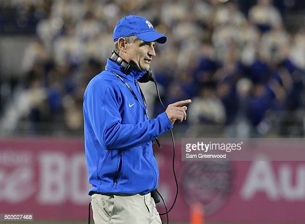 Head coach Ron Caragher of the San Jose State Spartans watches the action during the AutoNation Cure Bowl against the Georgia State Panthers at...