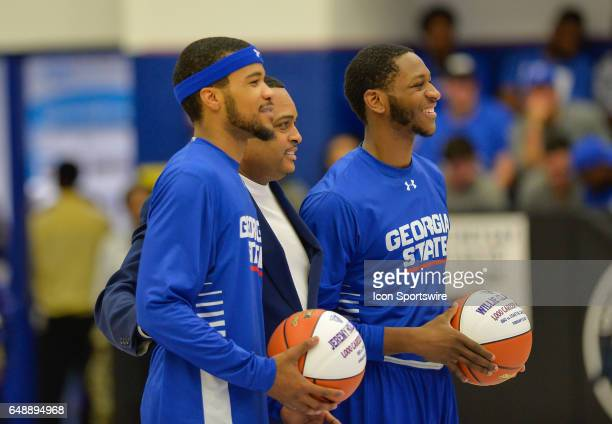 Head Coach Ron Hunter along with Georgia State seniors Jeremy Hollowell and Willie Clayton on Senior Day in a Sun Belt Conference basketball game at...