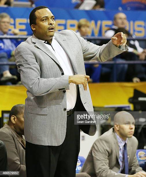 Head coach Ron Hunter of the Georgia State Panthers reacts to a call as his team takes on Georgia Southern Eagles during the Sun Belt Conference...