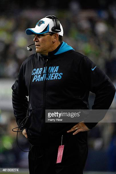 Head coach Ron Rivera of the Carolina Panthers looks on against the Seattle Seahawks during the 2015 NFC Divisional Playoff game at CenturyLink Field...