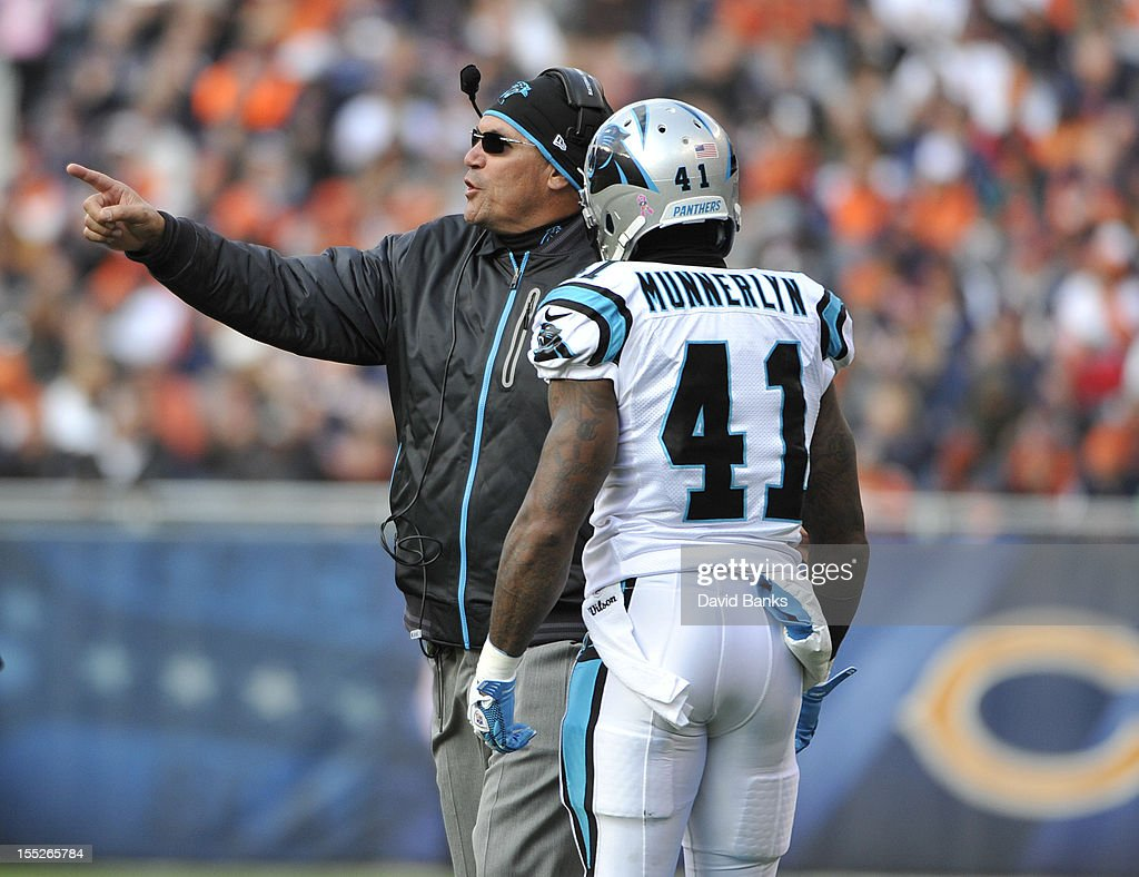 Head coach Ron Rivera of the Carolina Panthers yells at Captain Munnerlyn #41 during a game against the Chicago Bears on October 28, 2012 at Soldier Field in Chicago, Illinois.
