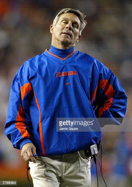 Head coach Ron Zook of the Florida Gators reacts to a bad call during the 2nd half of the game against the Florida State Seminoles on November 29...