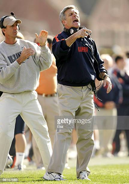 Head coach Ron Zook of the Illinois Fighting Illini directs his players in the first half against the Purdue Boilermakers on November 12 2005 at...
