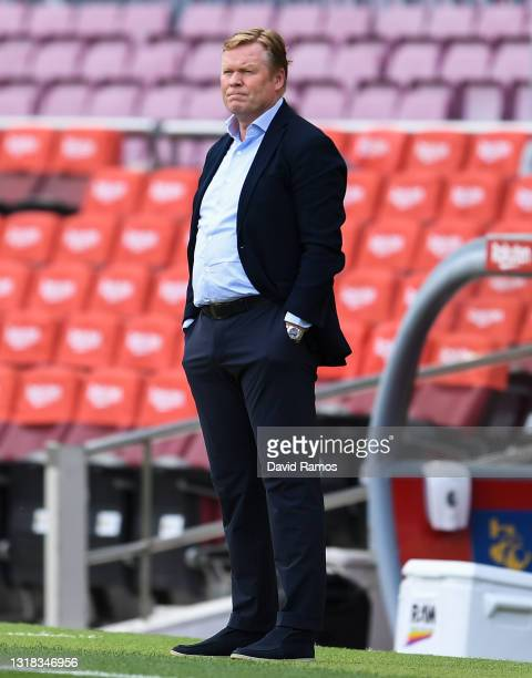 Head coach Ronald Koeman of FC Barcelona looks on during the La Liga Santander match between FC Barcelona and RC Celta at Camp Nou on May 16, 2021 in...