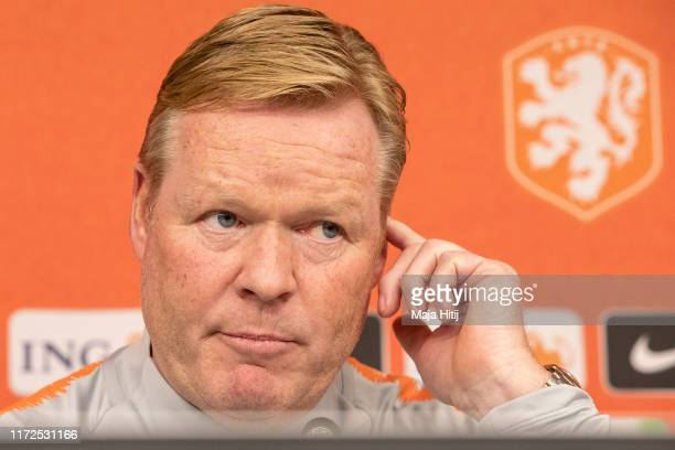 Head coach Ronald Koeman of Holland speaks during a press conference prior to a Germany against Netherlands UEFA Euro 2020 Qualifier match at...
