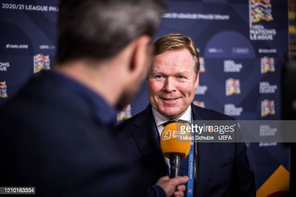 Head Coach Ronald Koeman of Netherlands gives an interview in the flash zone after the UEFA Nations League Draw at Beur van Berlage on March 03, 2020...