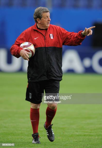 Head coach Roy Hodgson issues instructions during the Fulham training session ahead of the UEFA Europa League final match against Atletico Madrid at...