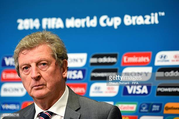 Head coach Roy Hodgson of England is interviewed after England's defeat to Uruguay in the 2014 FIFA World Cup Brazil Group D match between Uruguay...