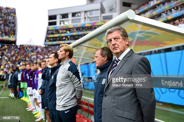 Head coach Roy Hodgson of England looks on prior to the 2014 FIFA World Cup Brazil Group D match between Uruguay and England at Arena de Sao Paulo on...