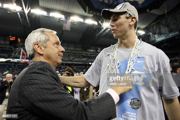 Head coach Roy Williams and Tyler Hansbrough of the North Carolina Tar Heels celebrate after they won 89-72 against the Michigan State Spartans...