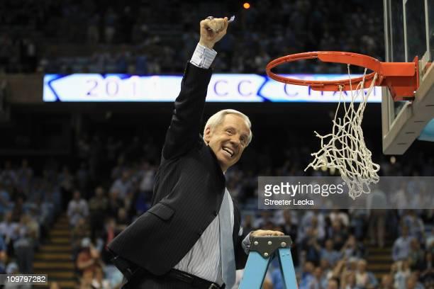 Head coach Roy Williams of the North Carolina Tar Heels celebrates winning the ACC Regular Season Championship as they defeated the Duke Blue Devils...